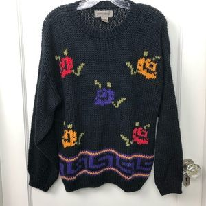 Vintage Chunky Knit Sweater 80's Black Floral